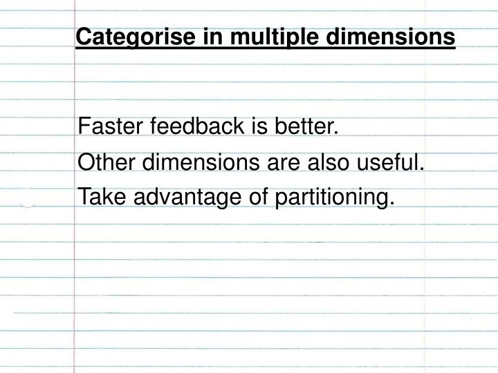 Categorise in multiple dimensions