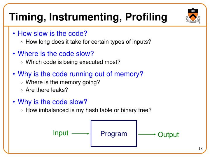 Timing, Instrumenting, Profiling