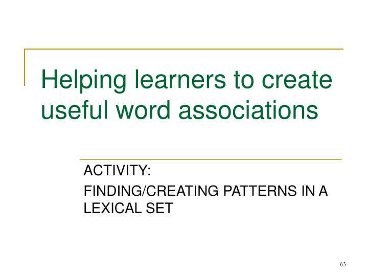 Helping learners to create useful word associations
