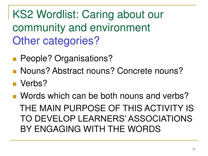KS2 Wordlist: Caring about our community and environment
