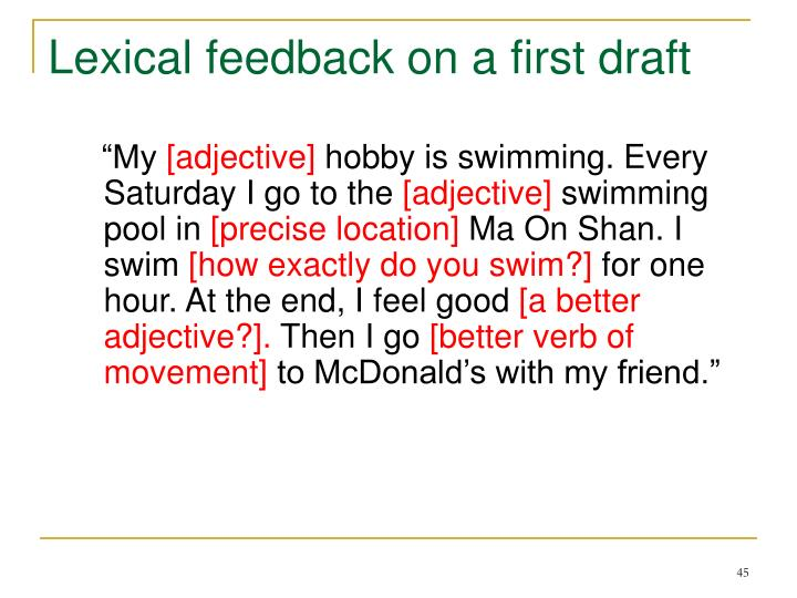 Lexical feedback on a first draft