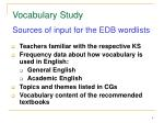 sources of input for the edb wordlists