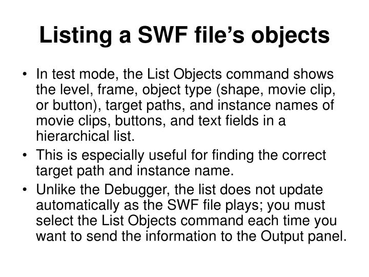 Listing a SWF file's objects