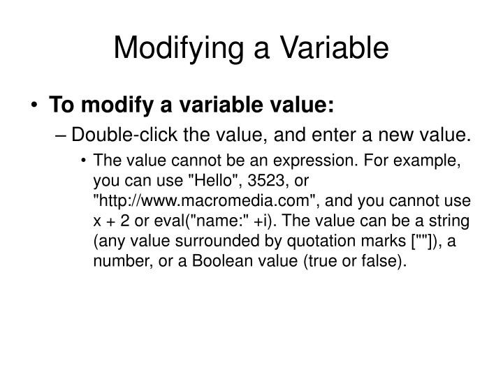 Modifying a Variable