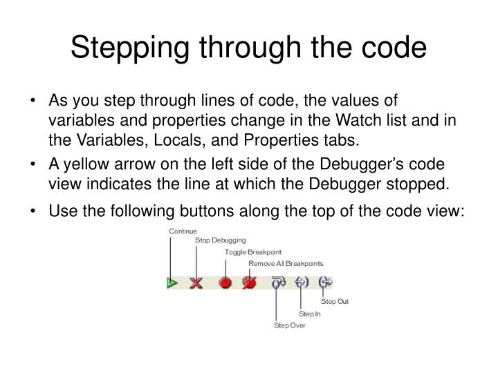 Stepping through the code
