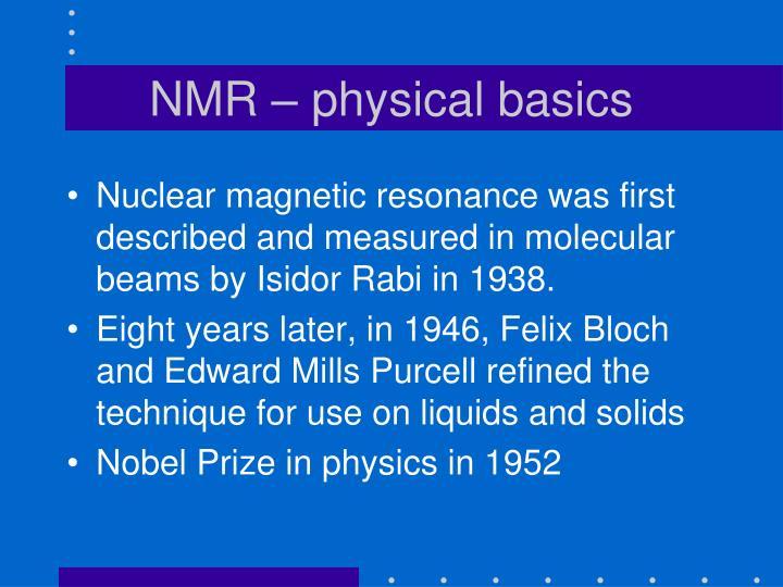 NMR – physical basics
