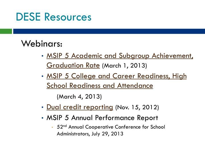 DESE Resources