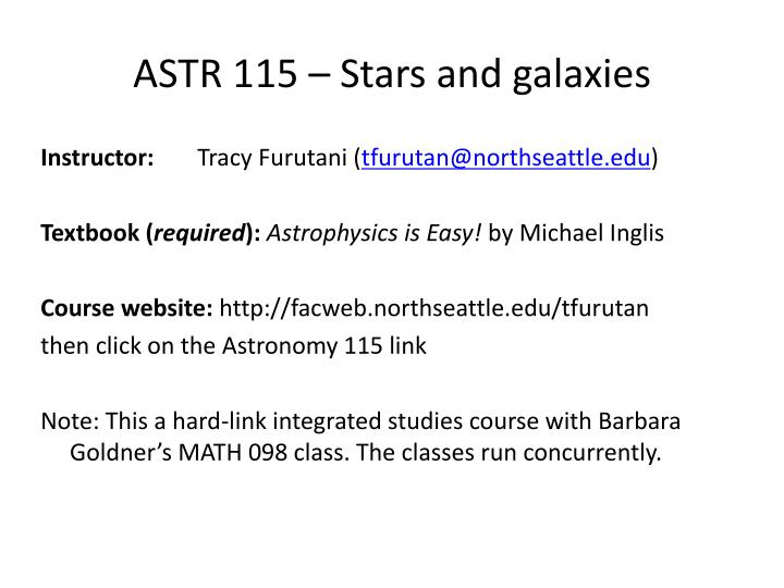 ASTR 115 – Stars and galaxies