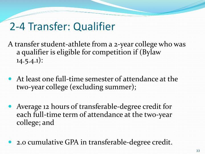 2-4 Transfer: Qualifier