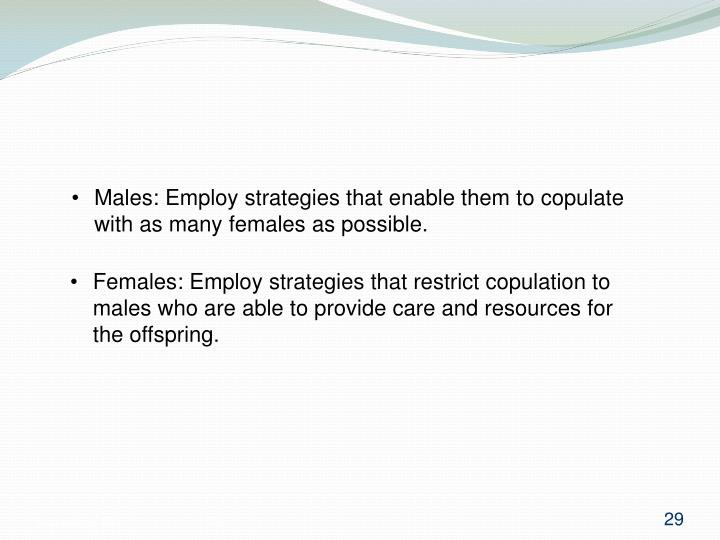 Males: Employ strategies that enable them to copulate with as many females as possible.