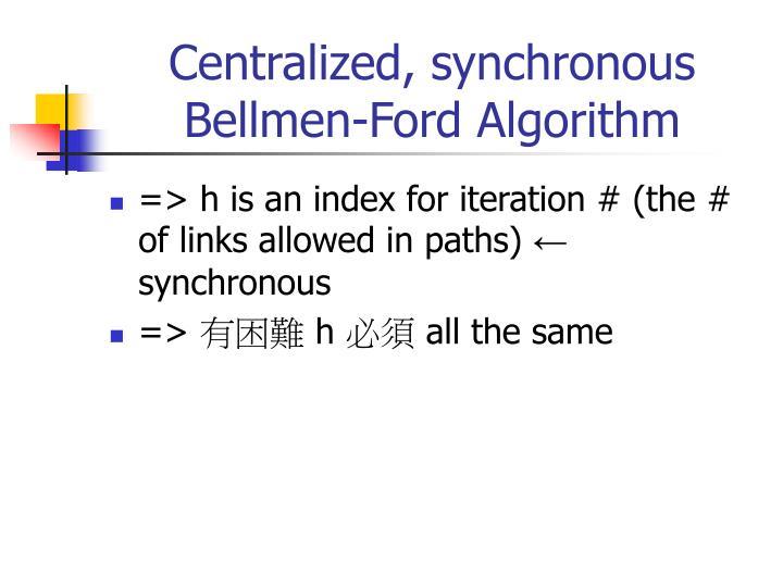 Centralized, synchronous Bellmen-Ford Algorithm