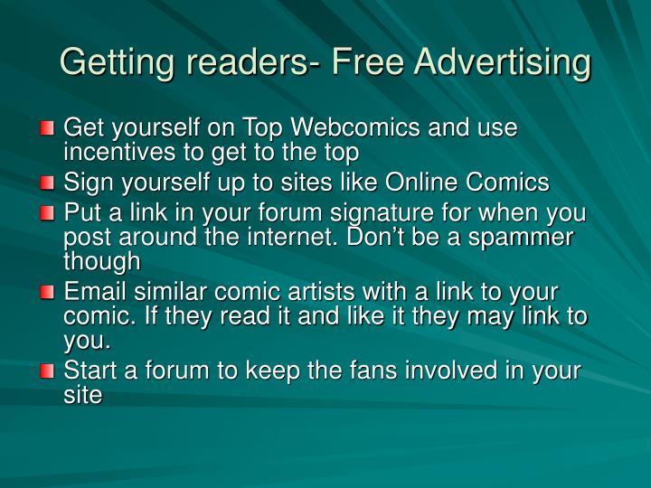 Getting readers- Free Advertising