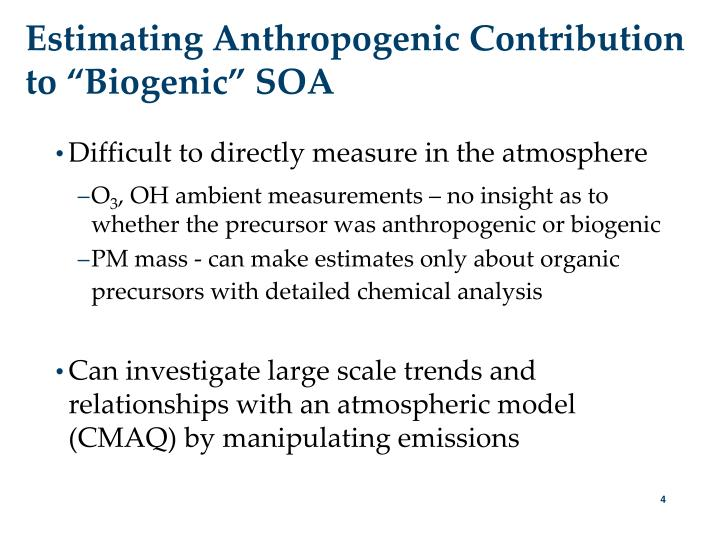 "Estimating Anthropogenic Contribution to ""Biogenic"" SOA"