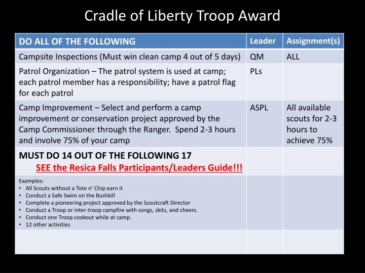Cradle of Liberty Troop Award