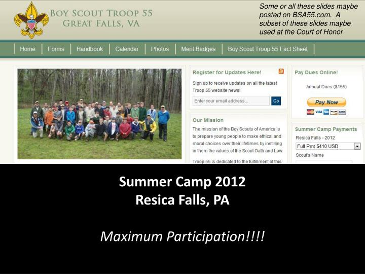 Summer camp 2012 resica falls pa maximum participation