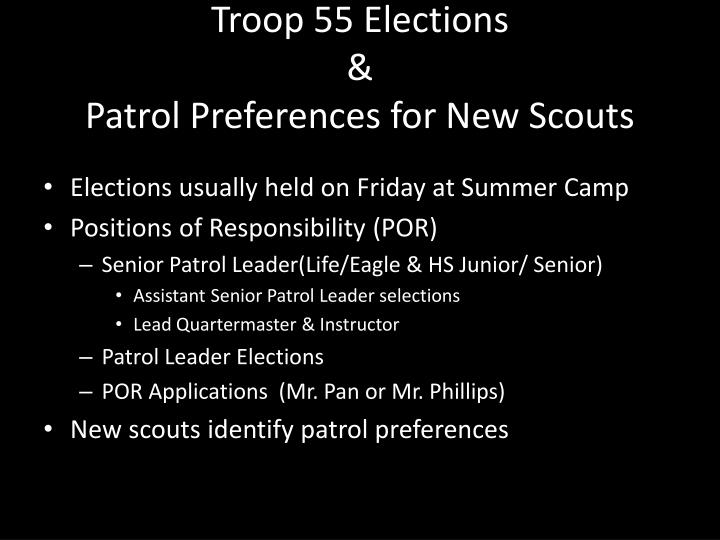 Troop 55 Elections