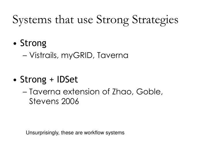 Systems that use Strong Strategies