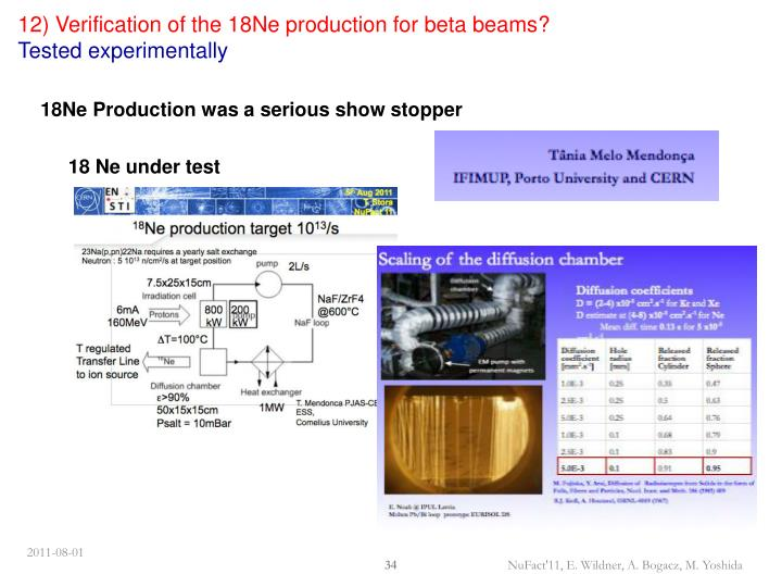 12) Verification of the 18Ne production for beta beams?