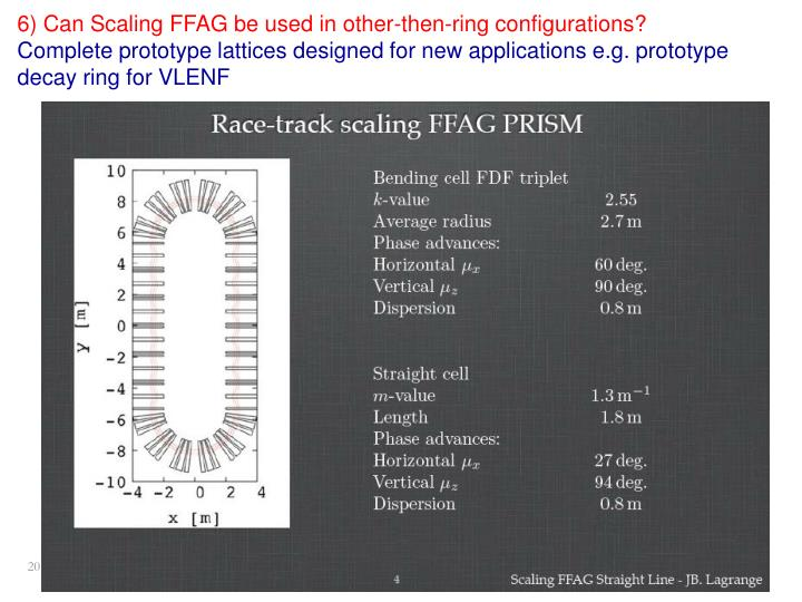 6) Can Scaling FFAG be used in other-then-ring configurations?