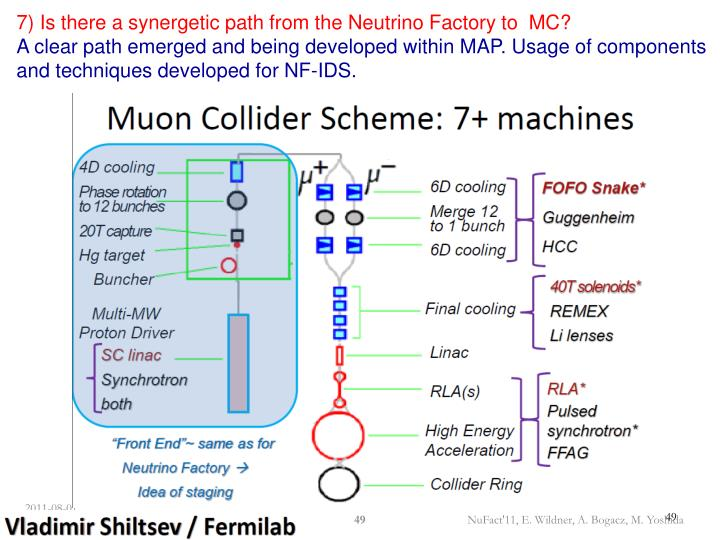7) Is there a synergetic path from the Neutrino Factory to  MC?