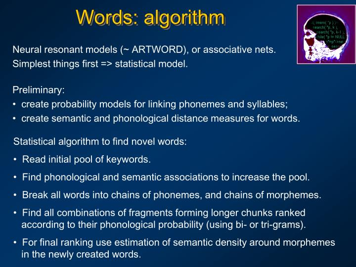 Words: algorithm