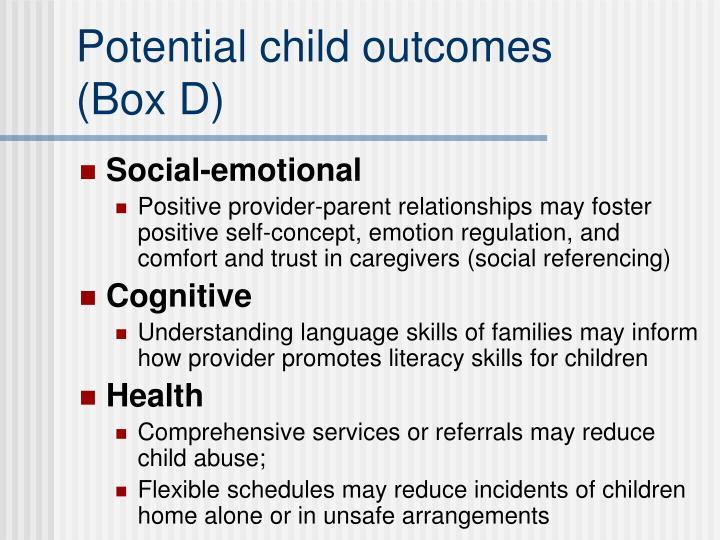 Potential child outcomes
