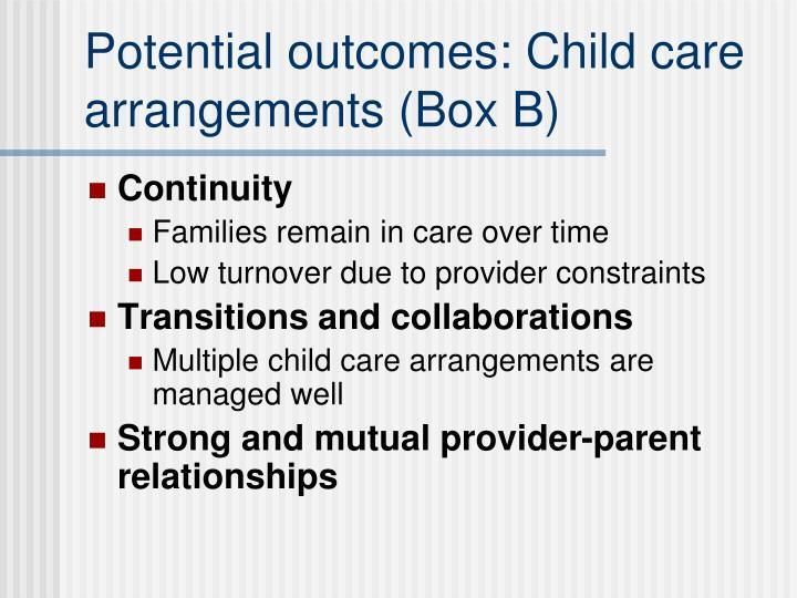 Potential outcomes: Child care arrangements (Box B)
