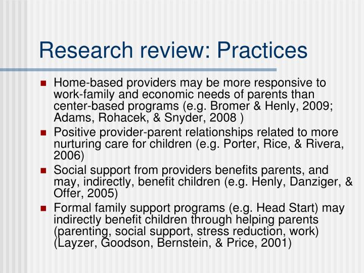 Research review: Practices