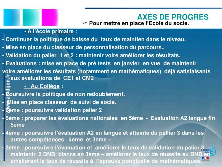 AXES DE PROGRES