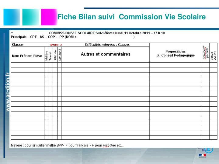 Fiche Bilan suivi  Commission Vie Scolaire