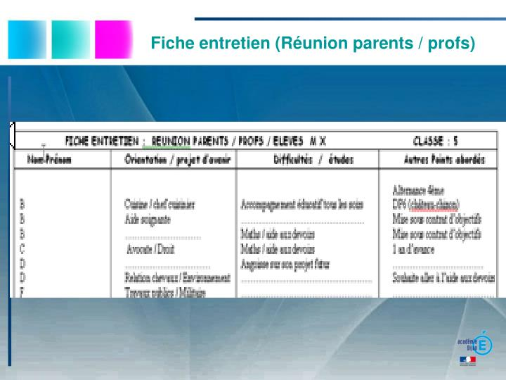 Fiche entretien (Réunion parents / profs)