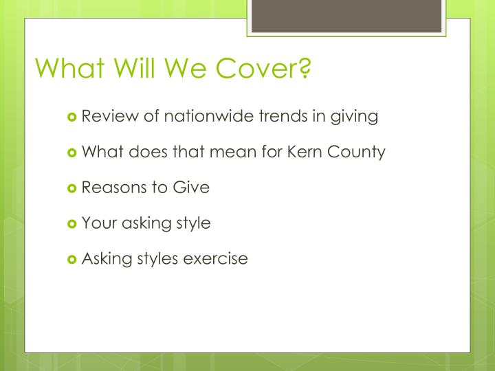 What Will We Cover?