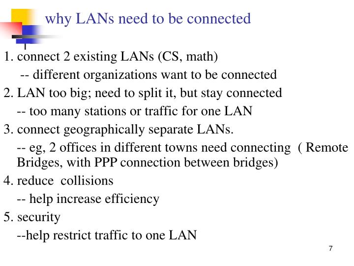 why LANs need to be connected