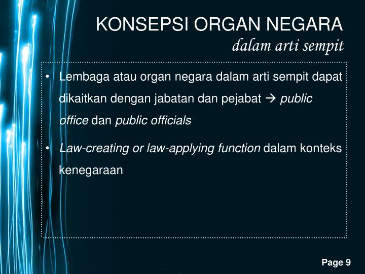 Lembaga atau organ negara dalam arti sempit dapat dikaitkan dengan jabatan dan pejabat