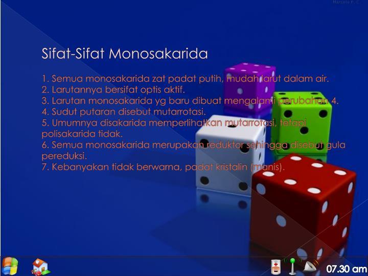 Sifat-Sifat Monosakarida
