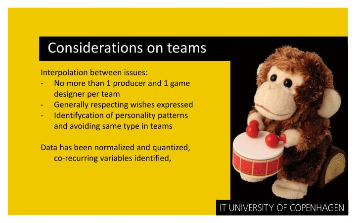 Considerations on teams