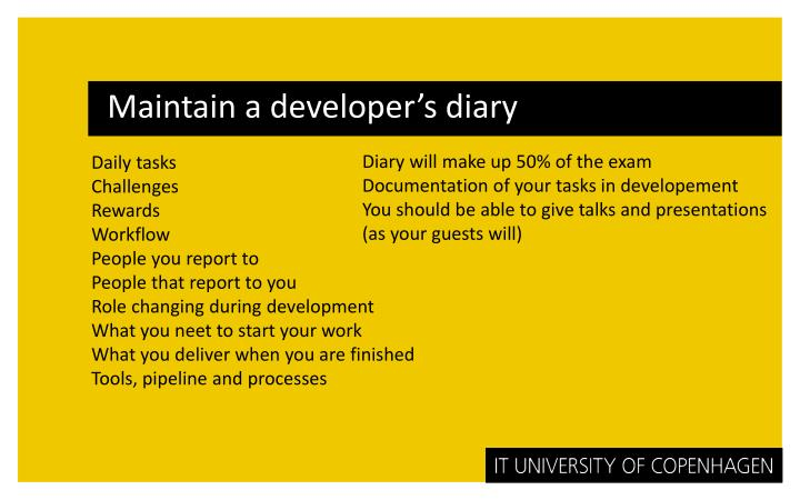 Maintain a developer's diary