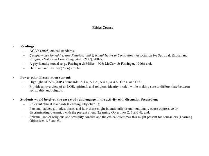 Ethics Course