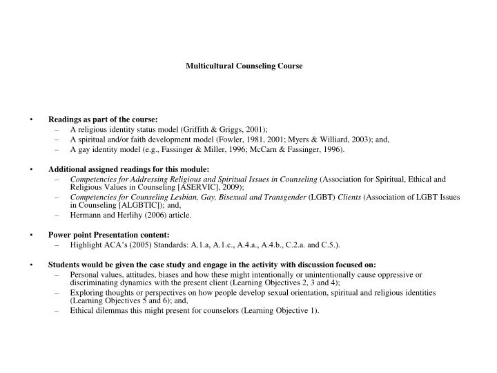 Multicultural Counseling Course