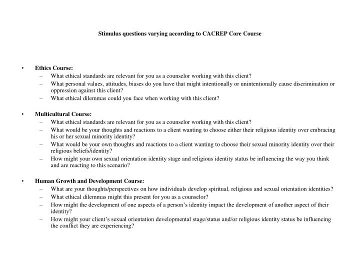 Stimulus questions varying according to CACREP Core Course