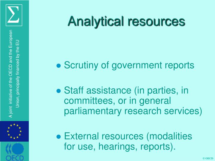 Analytical resources