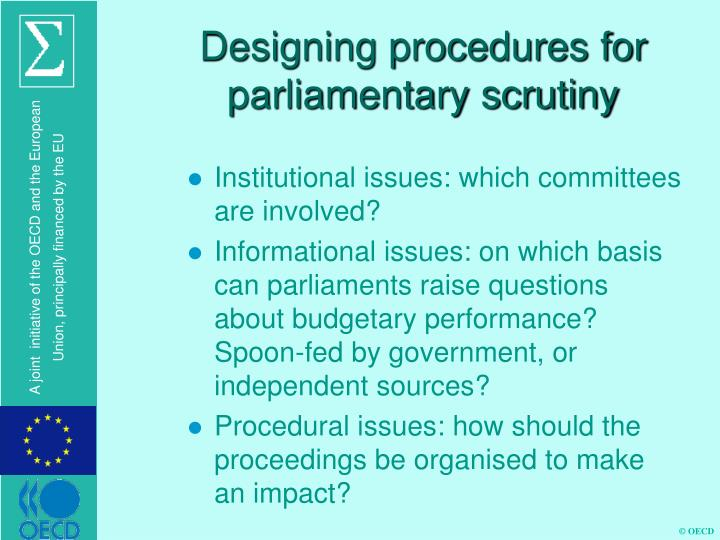 Designing procedures for parliamentary scrutiny