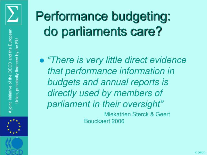 Performance budgeting: