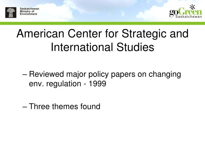 American center for strategic and international studies