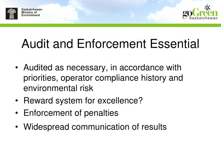 Audit and Enforcement Essential