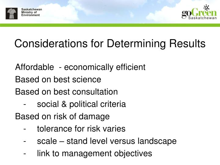 Considerations for Determining Results