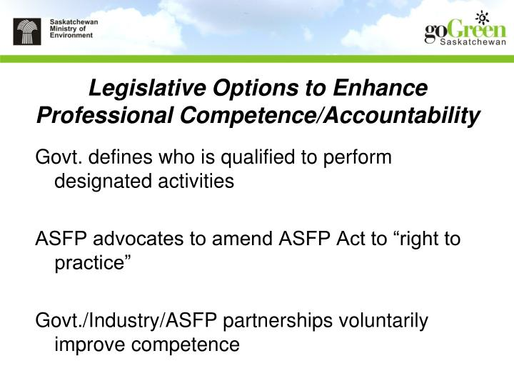 Legislative Options to Enhance Professional Competence/Accountability