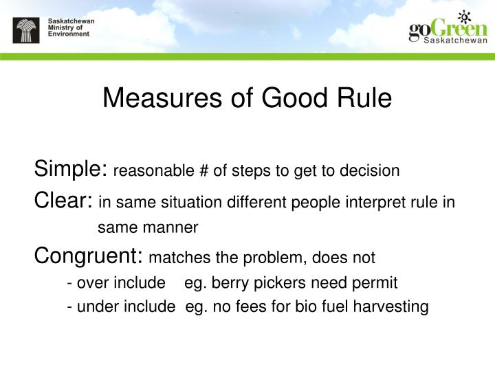 Measures of Good Rule