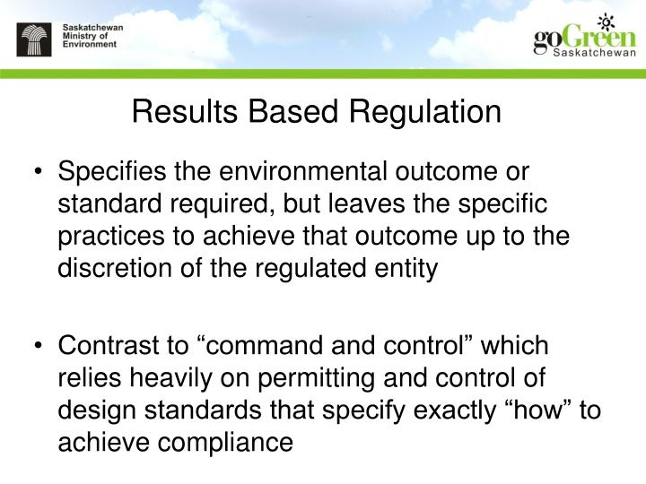 Results Based Regulation