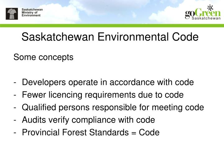 Saskatchewan Environmental Code
